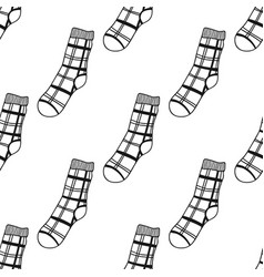 Socks black and white seamless pattern for vector