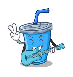 Soda drink character cartoon with guitar vector