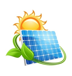 Solar panel and sun icon vector image
