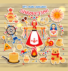 sticker set on the theme of the russian vector image