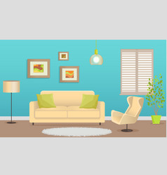 Stylish interior design with comfortable furniture vector
