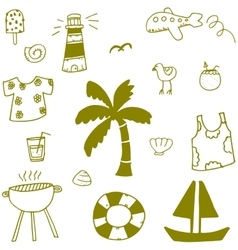 Summer doodle with hand draw vector