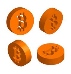 three-dimensional sign bitcoin vector image