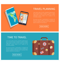 Travel planning web pages set vector