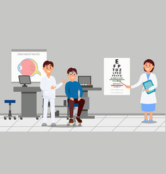 two doctors examining patient in clinic medical vector image