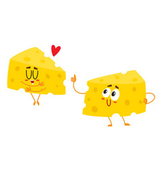two funny cheese chunk characters good quality vector image