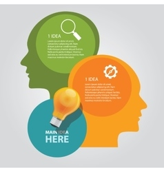 Two head thinking info graphic chart overlap bulb vector