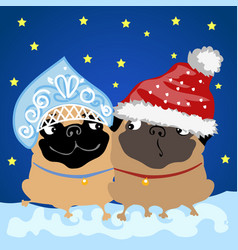 Two pug dogs in christmas costumes santa claus and vector