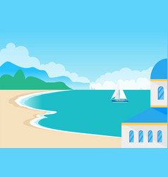 View on beautiful sandy beach and cute seascape vector