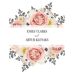 Wedding floral watercolor invite invitation card vector