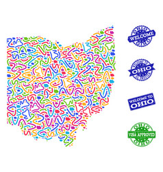 Welcome composition of mosaic map of ohio state vector