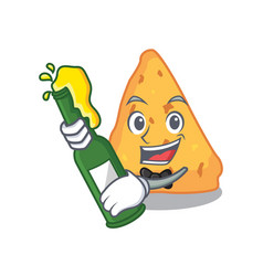 With beer nachos mascot cartoon style vector