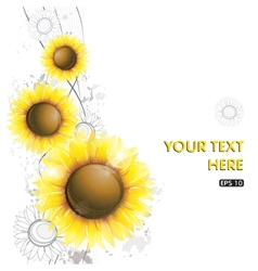 Abstract sunflower design vector image vector image