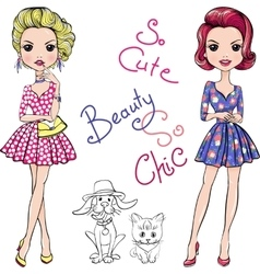 Pop Art cute fashion girls with dog and cat vector image vector image