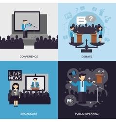Public Speaking Flat Set vector image vector image