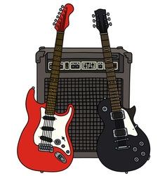 Red and black electric guitars and the combo vector image vector image