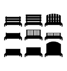 Benches benches black silhouettes vector
