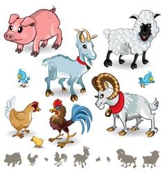 Farm Animals Collection Set 01 vector image vector image