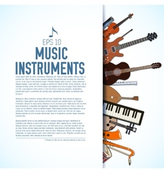 flat music instruments background concept vector image vector image