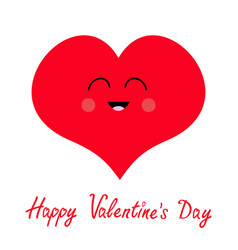 happy valentines day sign symbol red heart face vector image