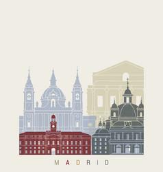 madrid v2 skyline poster vector image vector image