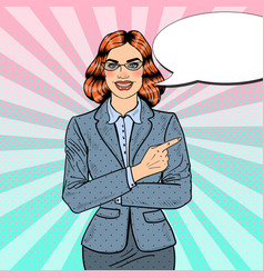 pop art business woman pointing finger vector image