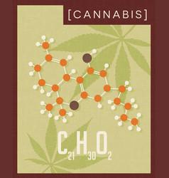 retro poster of cannabis plant molecule vector image