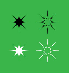 Star icon black and white color set vector