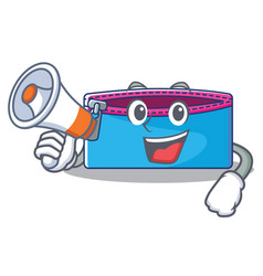 with megaphone pencil case character cartoon vector image vector image