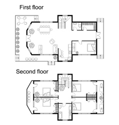 Architectural plan of a double decker house vector image