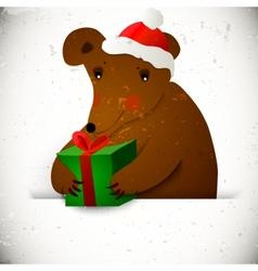 Christmas bear background vector image
