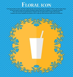 cocktail Floral flat design on a blue abstract vector image