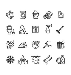 household and cleaning tools black thin line icon vector image