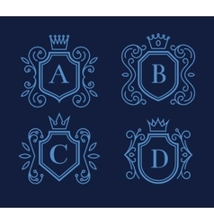 Logo or monogram design with shields and crowns vector image vector image
