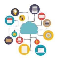 Media and cloud computing design vector image