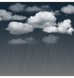 Rainclouds and rain in the dark sky vector image vector image