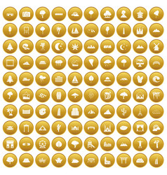 100 view icons set gold vector image