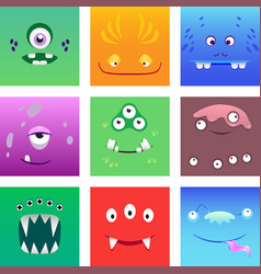cartoon monsters faces with emotions set vector image vector image
