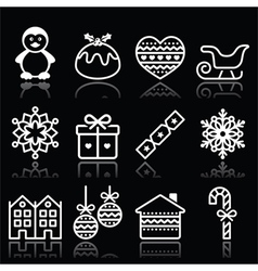 Christmas winter white icons with stroke on black vector image vector image