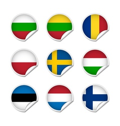 Flag stickers set 3 vector image vector image