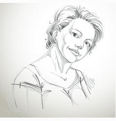 Hand-drawn of beautiful romantic woman monochrome vector