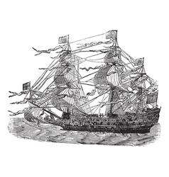 HMS Sovereign vintage engraved vector image