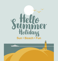 travel banner with sea sun ship and lighthouse vector image