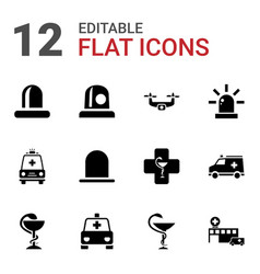 12 ambulance icons vector