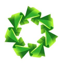 7 green recycling arrows button vector