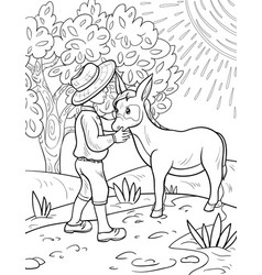 a coloring bookpage for children boy with mule vector image