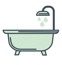 Bathtub and shower hotel room bathroom isolated vector