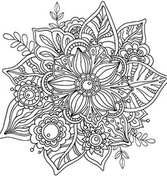 Beautiful graphic flower in doodle style vector