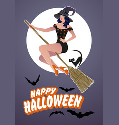 beautiful pinup witch flying on a broom with a vector image