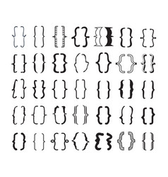 Black opening and closing pairs curly brackets set vector